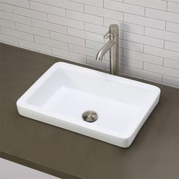decolav 1453 cwh semi recessed rectangular lavatory sink ceramic white
